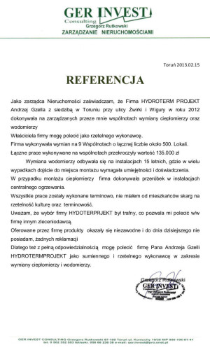 Referencje firmy Ger Invest Consulting za prace wykonane przez HydroTermProjekt Gzella Andrzej