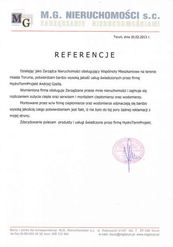 Referencje dla HydroTermProjekt MG Nieruchomości Toruń